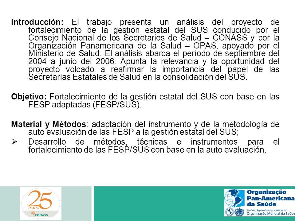 Introducción: El trabajo presenta un análisis del proyecto de fortalecimiento de la gestión estatal del SUS conducido por el Consejo Nacional de los S