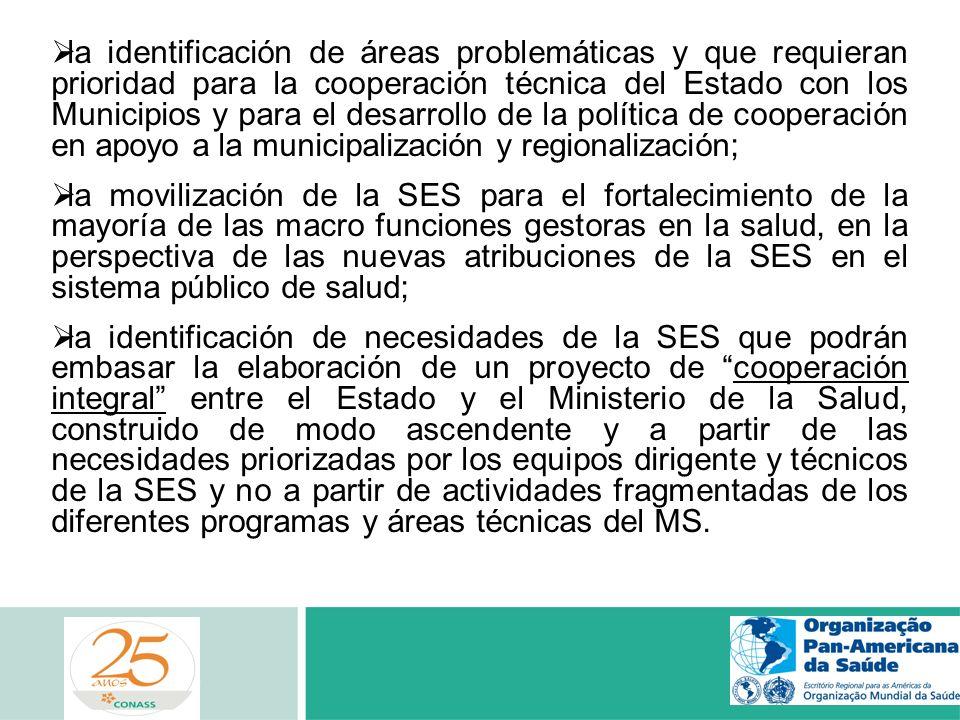 la identificación de áreas problemáticas y que requieran prioridad para la cooperación técnica del Estado con los Municipios y para el desarrollo de l