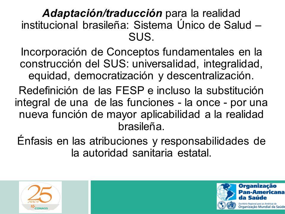 Adaptación/traducción para la realidad institucional brasileña: Sistema Único de Salud – SUS. Incorporación de Conceptos fundamentales en la construcc