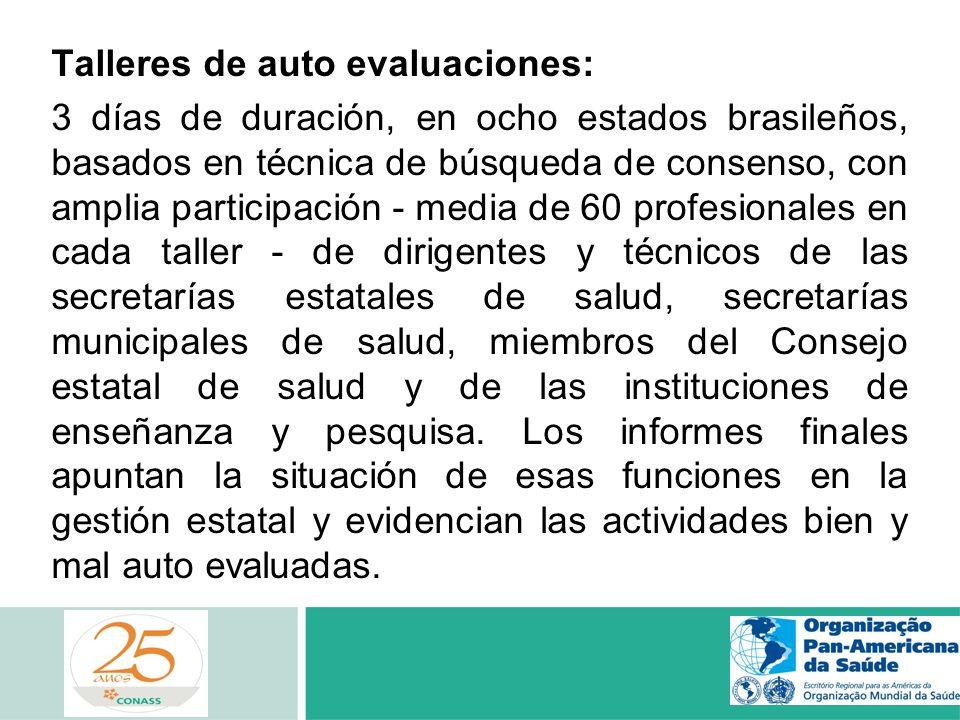 Talleres de auto evaluaciones: 3 días de duración, en ocho estados brasileños, basados en técnica de búsqueda de consenso, con amplia participación -