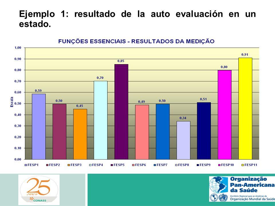 Ejemplo 1: resultado de la auto evaluación en un estado.