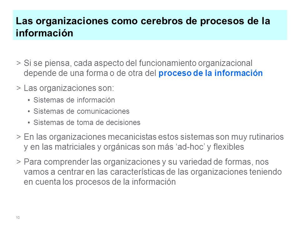 10 Las organizaciones como cerebros de procesos de la información >Si se piensa, cada aspecto del funcionamiento organizacional depende de una forma o de otra del proceso de la información >Las organizaciones son: Sistemas de información Sistemas de comunicaciones Sistemas de toma de decisiones >En las organizaciones mecanicistas estos sistemas son muy rutinarios y en las matriciales y orgánicas son más ad-hoc y flexibles >Para comprender las organizaciones y su variedad de formas, nos vamos a centrar en las características de las organizaciones teniendo en cuenta los procesos de la información