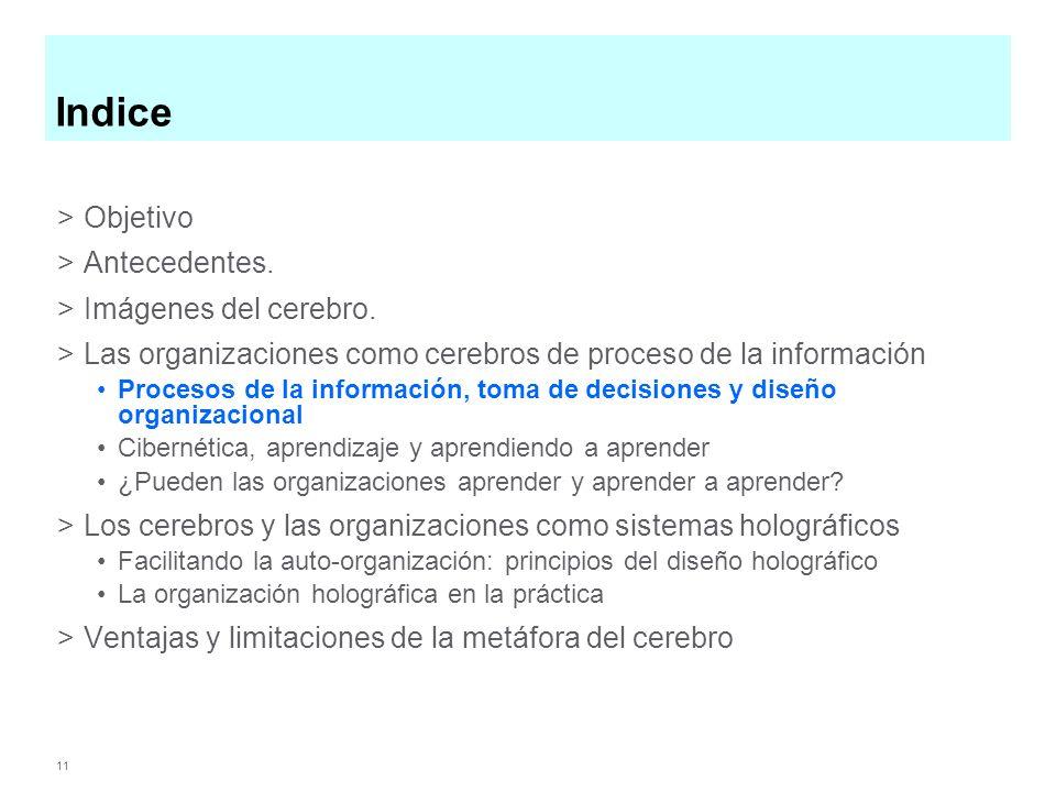 11 Indice >Objetivo >Antecedentes. >Imágenes del cerebro. >Las organizaciones como cerebros de proceso de la información Procesos de la información, t