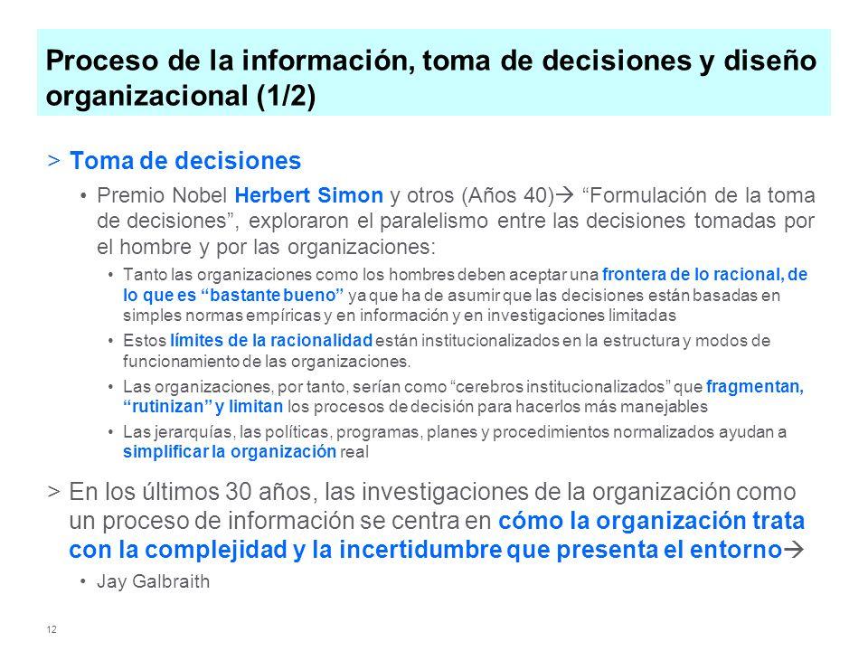 12 Proceso de la información, toma de decisiones y diseño organizacional (1/2) >Toma de decisiones Premio Nobel Herbert Simon y otros (Años 40) Formul