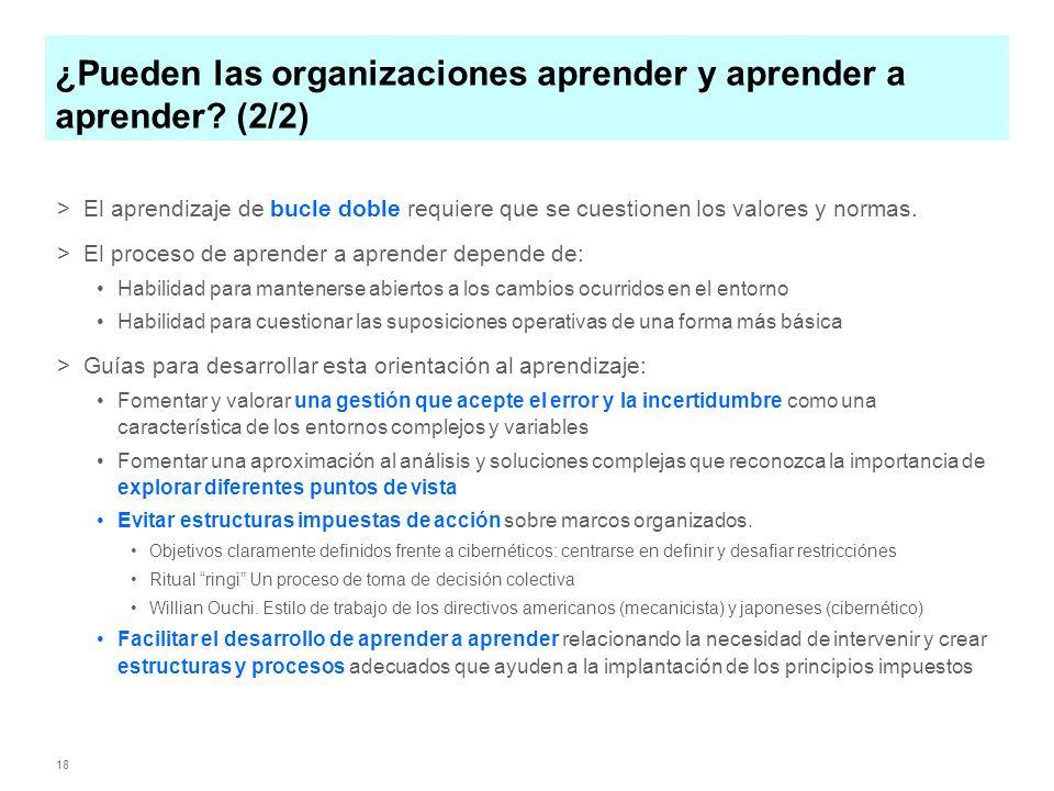18 ¿Pueden las organizaciones aprender y aprender a aprender? (2/2) >El aprendizaje de bucle doble requiere que se cuestionen los valores y normas. >E