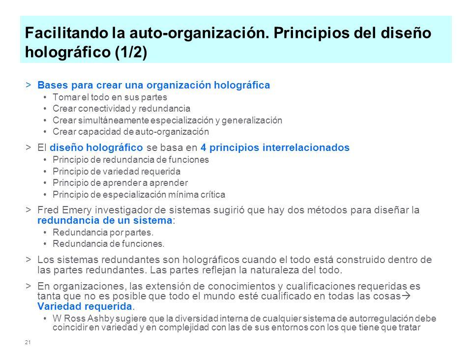 21 Facilitando la auto-organización. Principios del diseño holográfico (1/2) >Bases para crear una organización holográfica Tomar el todo en sus parte