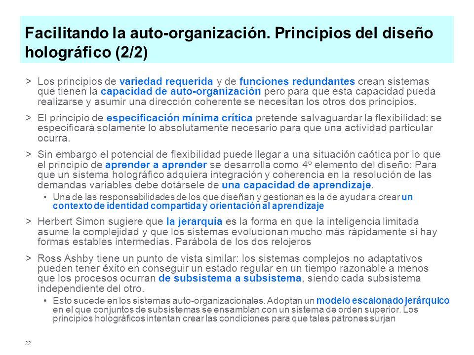 22 Facilitando la auto-organización. Principios del diseño holográfico (2/2) >Los principios de variedad requerida y de funciones redundantes crean si