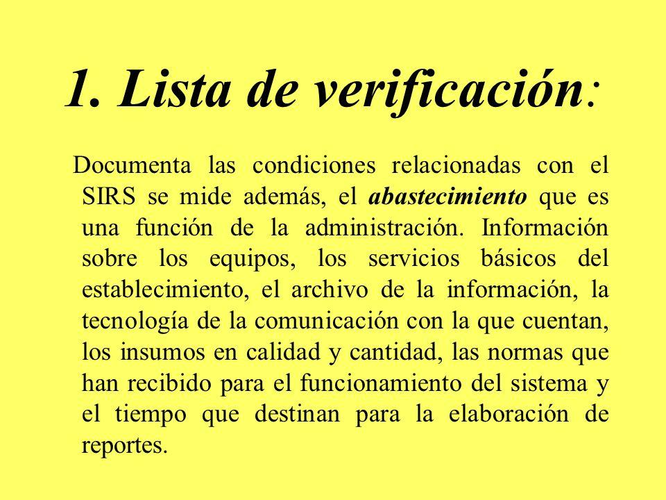 1. Lista de verificación: Documenta las condiciones relacionadas con el SIRS se mide además, el abastecimiento que es una función de la administración
