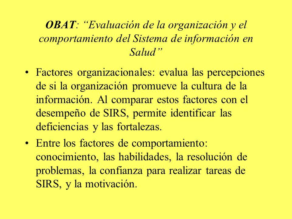 OBAT: Evaluación de la organización y el comportamiento del Sistema de información en Salud Factores organizacionales: evalua las percepciones de si la organización promueve la cultura de la información.