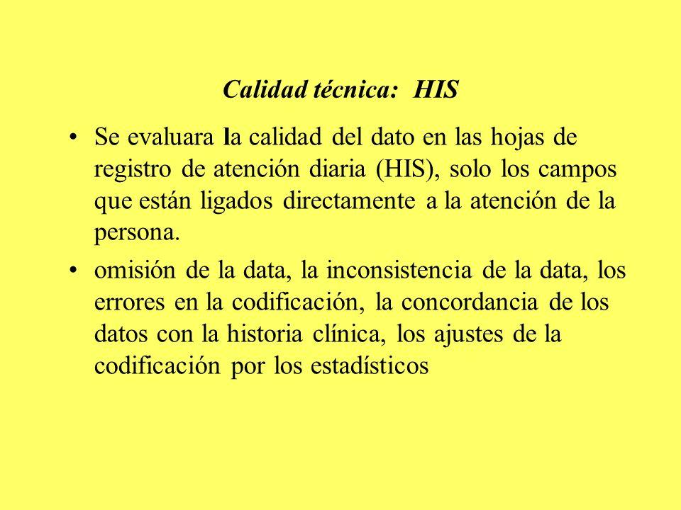 Calidad técnica: HIS Se evaluara la calidad del dato en las hojas de registro de atención diaria (HIS), solo los campos que están ligados directamente