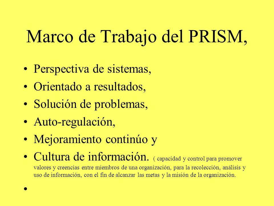 Marco de Trabajo del PRISM, Perspectiva de sistemas, Orientado a resultados, Solución de problemas, Auto-regulación, Mejoramiento continúo y Cultura de información.