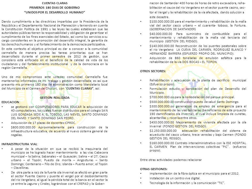 CONTRATO DE OBRA 208 DEL 21 DE DICIEMBRE 2011 OBJETO: CONSTRUCCIÓN DE AULA RESTAURANTE ESCOLAR Y UNIDADES SANITARIAS INSTITUCIÓN EDUCATIVA ISLANDA ESCUELA RURAL LOS ALPES SEDE D MUNICIPIO EL CARMEN DE CHUCURI DEPARTAMENTO DE SANTANDER VALOR INICIAL: 155.439.359 DURACION: 60 DIAS CONTRATISTA: Consorcio Los Alpes Esta obra se encuentra un poco atrasada debido al mal estado de la vía que ha impedido la entrada de materiales hasta el sitio de la obra, hasta la fecha lleva aproximadamente un 30% de ejecución, en la obra se observa un poco de material pero no el suficiente para terminar la obra, este día de la visita se realizaron modificaciones a la estructura porque según el diseño la cubierta de las aulas estaba proyectada en concreto y se realizó la modificación para que se realizara en teja de asbesto cemento.
