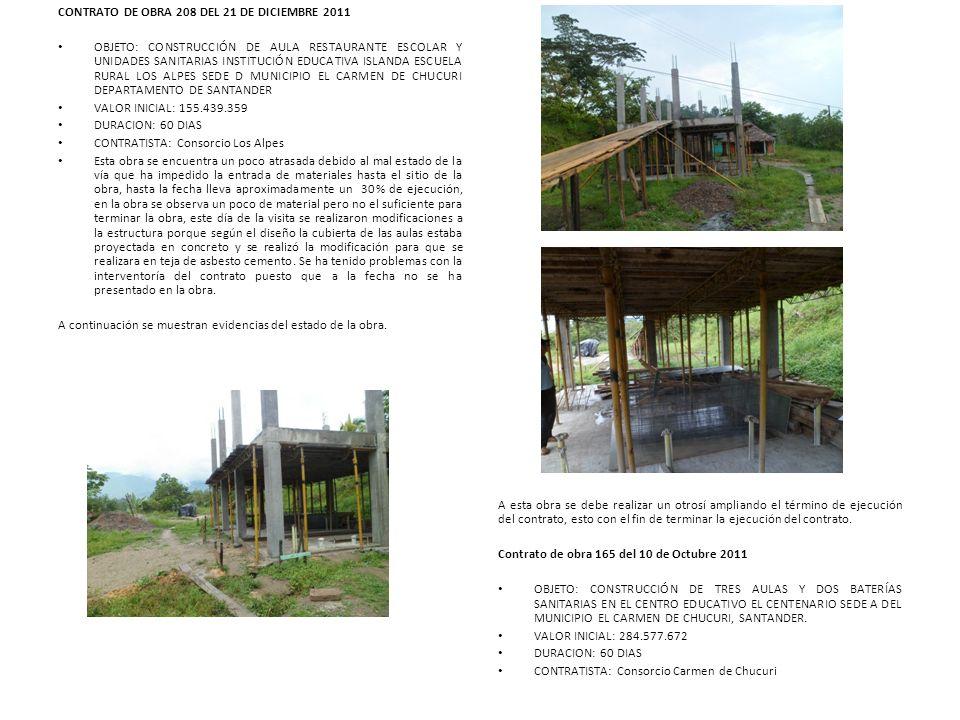 CONTRATO DE OBRA 208 DEL 21 DE DICIEMBRE 2011 OBJETO: CONSTRUCCIÓN DE AULA RESTAURANTE ESCOLAR Y UNIDADES SANITARIAS INSTITUCIÓN EDUCATIVA ISLANDA ESC