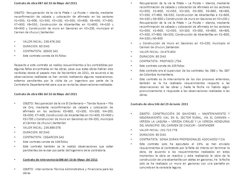 Contrato de obra 087 del 10 de Mayo del 2011 OBJETO: Recuperación de la vía la Pitala – La Picota – Islanda, mediante reconfirmación de calzada y colo