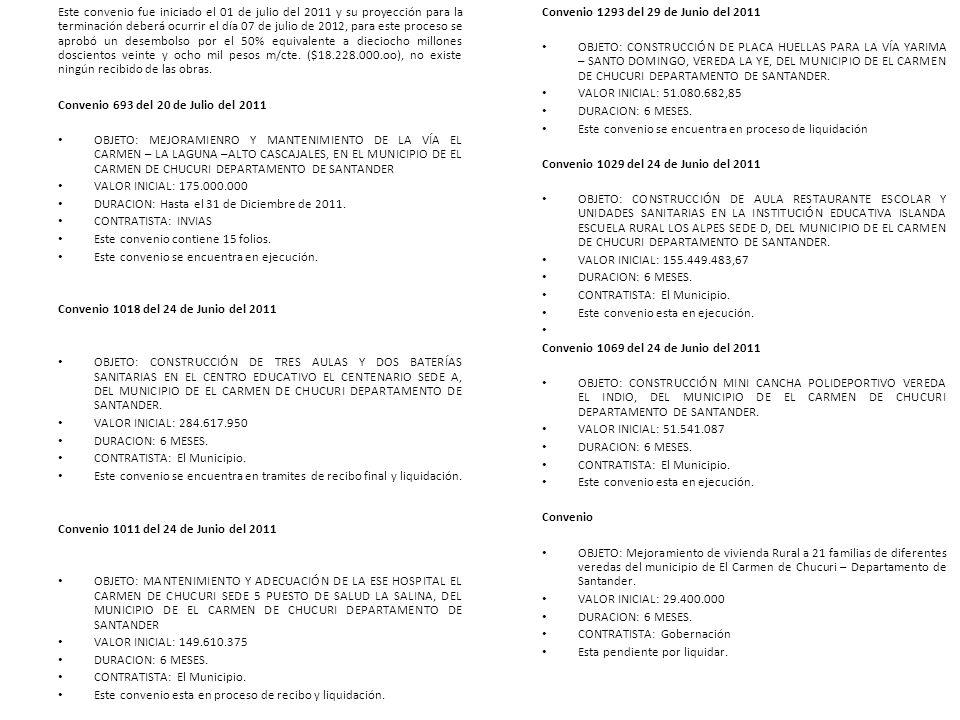 Este convenio fue iniciado el 01 de julio del 2011 y su proyección para la terminación deberá ocurrir el día 07 de julio de 2012, para este proceso se