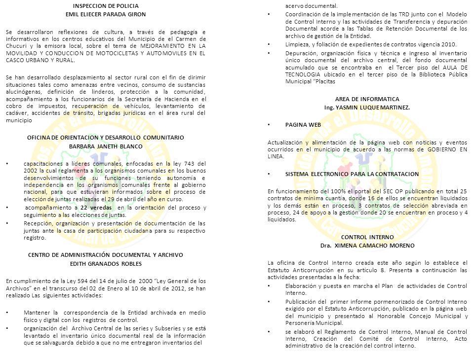 DEMANDANTE:ERNESTINA RODRIGUEZ PANIAGUA DEMANDADO:MUNICIPIO DEL CARMEN DE CHUCURI RAD:2011-00091 ACCION:NULIDAD Y RESTABLECIMIENTO DEL DERECHO NOTIFICACION:ESTADOS DETALLE: DECIDE RECURSOS DE APELACION DE LA PROVINCIA QUE DENIEGA LA INTEGRACION DE LITISCONSORCIO- MP SOLANGE OFICINA/SALA:TRIBUNAL ADMINISTRATIVO FECHA:26/04/2012 DEMANDANTE:ERNESTINA RODRIGUEZ PANIAGUA DEMANDADO:MUNICIPIO DEL CARMEN DE CHUCURI RAD:2011-00091 ACCION:NULIDAD Y RESTABLECIMIENTO DEL DERECHO NOTIFICACION:AVISOS DETALLE: ENVIADO AL JUZGADO 4 ADMINISTRATIVO DE DESCONGESTION OFICINA/SALA:TRIBUNAL ADMINISTRATIVO FECHA:06/07/2012 DEMANDANTE:SARA PINTO AGREDO DEMANDADO:MUNICIPIO DEL CARMEN DE CHUCURI RAD:2009-00356 ACCION:NULIDAD Y RESTABLECIMIENTO DEL DERECHO NOTIFICACION:ESTADOS DETALLE:RECONOCE PERSONERIA OFICINA/SALA:TRIBUNAL ADMINISTRATIVO DE CIRCUITO FECHA:26/01/2012 DEMANDANTE:SARA PINTO AGREDO DEMANDADO:MUNICIPIO DEL CARMEN DE CHUCURI RAD:2009-00356 ACCION:NULIDAD Y RESTABLECIMIENTO DEL DERECHO NOTIFICACION:EDICTOS DETALLE:SENTENCIA 28 DE MAYO DE 2012 TERMINO 3 DIAS OFICINA/SALA:TRIBUNAL ADMINISTRATIVO DE CIRCUITO FECHA:01/06/2012 DEMANDANTE:SARA PINTO AGREDO DEMANDADO:MUNICIPIO DEL CARMEN DE CHUCURI RAD:2009-00356 ACCION:NULIDAD Y RESTABLECIMIENTO DEL DERECHO NOTIFICACION:ESTADOS DETALLE:FIJA CONCILIACION 30 DE JULIO DE 2012 10:30 AM OFICINA/SALA:TRIBUNAL ADMINISTRATIVO DE CIRCUITO FECHA:12/07/2012 DEMANDANTE:JUAN GUILLERMO CORDOBA CORREA DEMANDADO:MUNICIPIO DEL CARMEN DE CHUCURI RAD:2009-00033 ACCION:POPULAR NOTIFICACION:ESTADOS DETALLE: RESUELVE RENUNCIA PODER SE ACEPTA RENUNCIA DE PODER PRESENTADA POR DR LUIS CARLOS MALDONADO DIAS (APDO DE MUNICIPIO DEL CARMEN DE CHUCURI) ENVIAR COMUNICACIÓN OFICINA/SALA:TRIBUNAL ADMINISTRATIVO DE CIRCUITO FECHA:12/01/2012 DEMANDANTE:MUNICIPIO EL CARMEN DE CHUCURI DEMANDADO:CAS RAD:2009-00084 ACCION:EJECUTIVO
