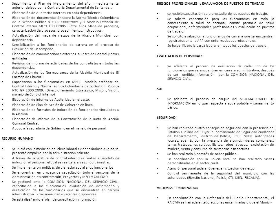 Seguimiento al Plan de Mejoramiento del año inmediatamente anterior dejado por la Contraloría Departamental de Santander. Elaboración de Auditorías In