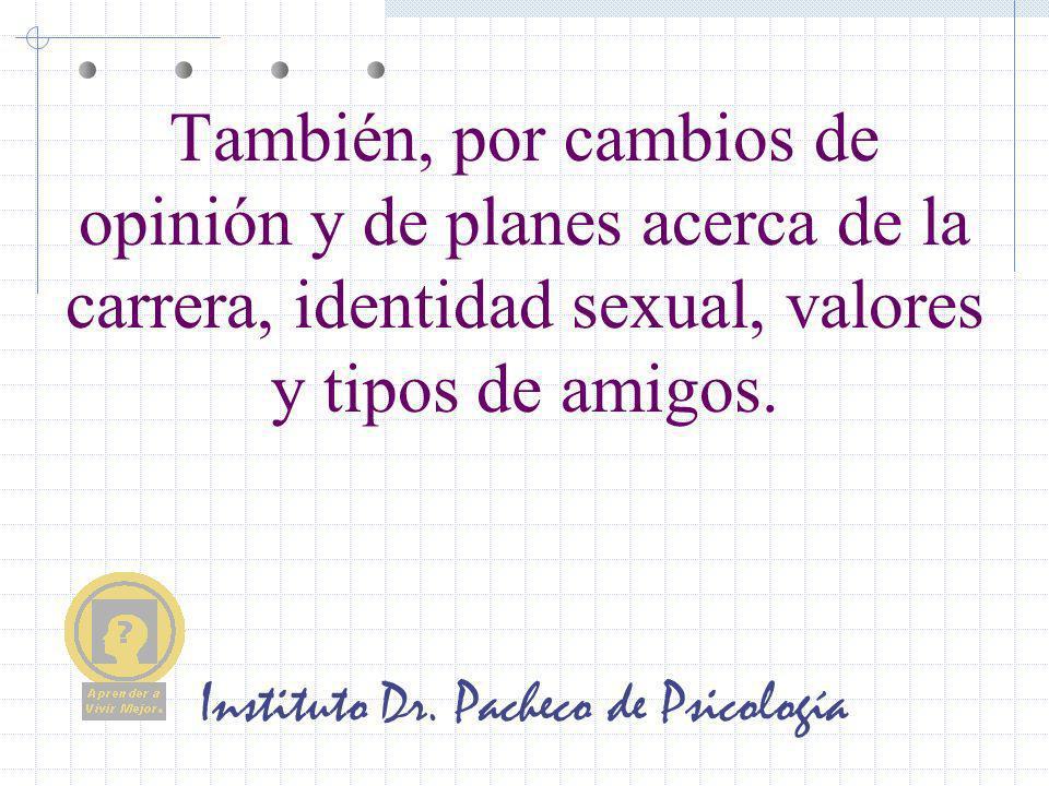 Instituto Dr. Pacheco de Psicología También, por cambios de opinión y de planes acerca de la carrera, identidad sexual, valores y tipos de amigos.