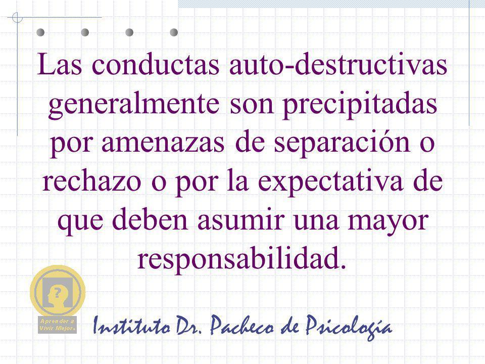 Instituto Dr. Pacheco de Psicología Las conductas auto-destructivas generalmente son precipitadas por amenazas de separación o rechazo o por la expect
