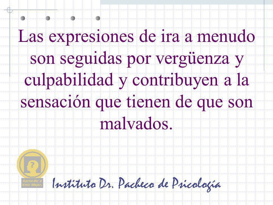 Instituto Dr. Pacheco de Psicología Las expresiones de ira a menudo son seguidas por vergüenza y culpabilidad y contribuyen a la sensación que tienen