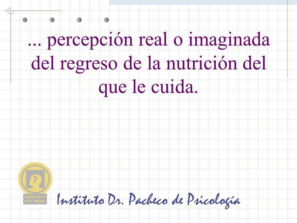 Instituto Dr. Pacheco de Psicología... percepción real o imaginada del regreso de la nutrición del que le cuida.