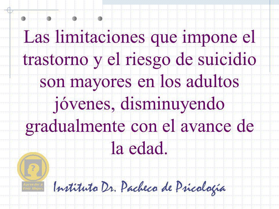Instituto Dr. Pacheco de Psicología Las limitaciones que impone el trastorno y el riesgo de suicidio son mayores en los adultos jóvenes, disminuyendo