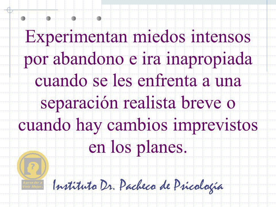 Instituto Dr. Pacheco de Psicología Experimentan miedos intensos por abandono e ira inapropiada cuando se les enfrenta a una separación realista breve