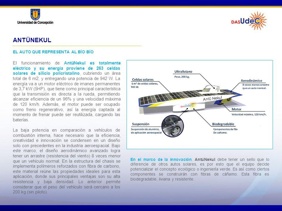 ANTÜNEKUL EL AUTO QUE REPRESENTA AL BÍO BÍO El funcionamiento de AntüNekul es totalmente eléctrico y su energía proviene de 263 celdas solares de sili