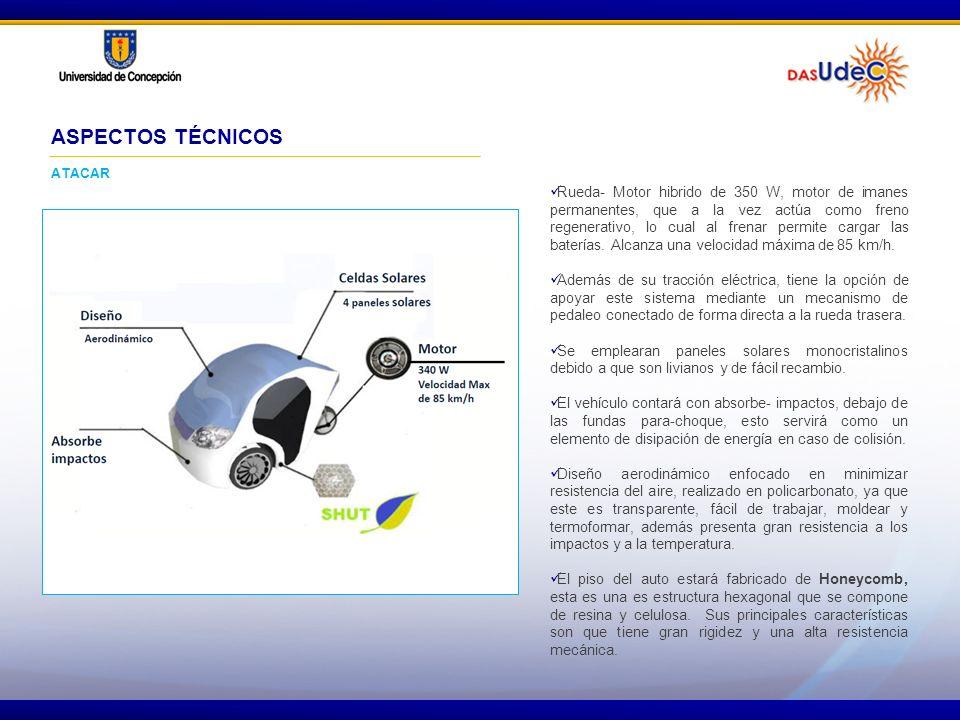 Rueda- Motor hibrido de 350 W, motor de imanes permanentes, que a la vez actúa como freno regenerativo, lo cual al frenar permite cargar las baterías.