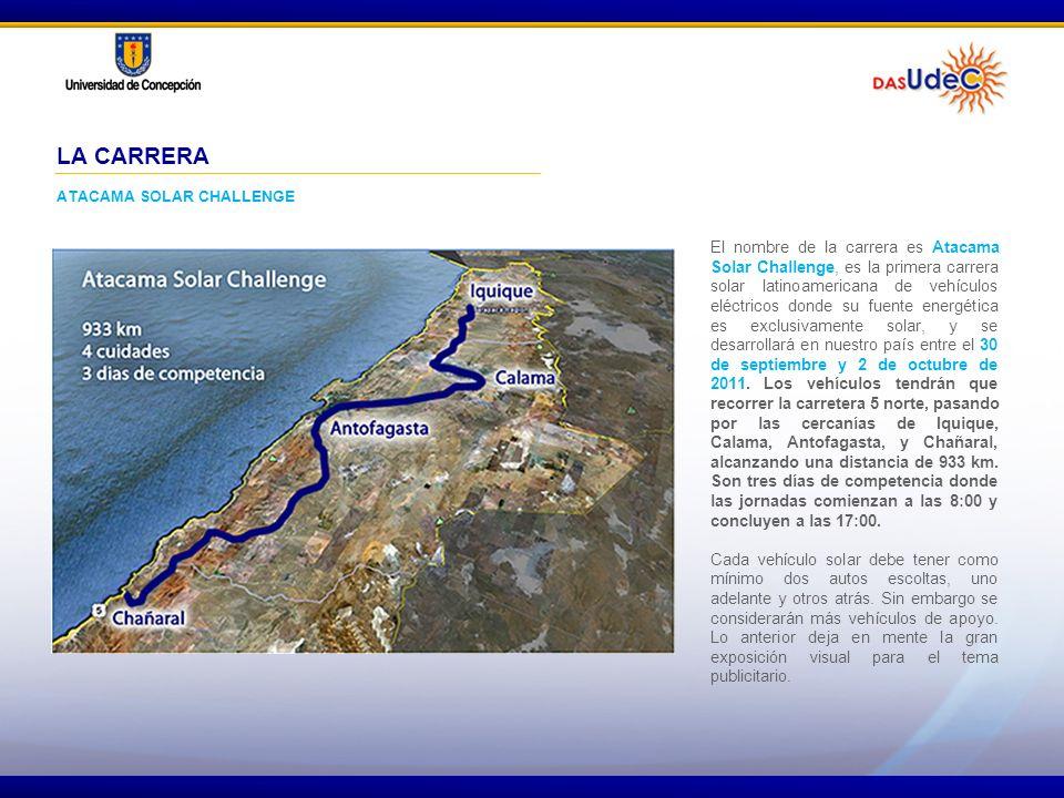 El nombre de la carrera es Atacama Solar Challenge, es la primera carrera solar latinoamericana de vehículos eléctricos donde su fuente energética es