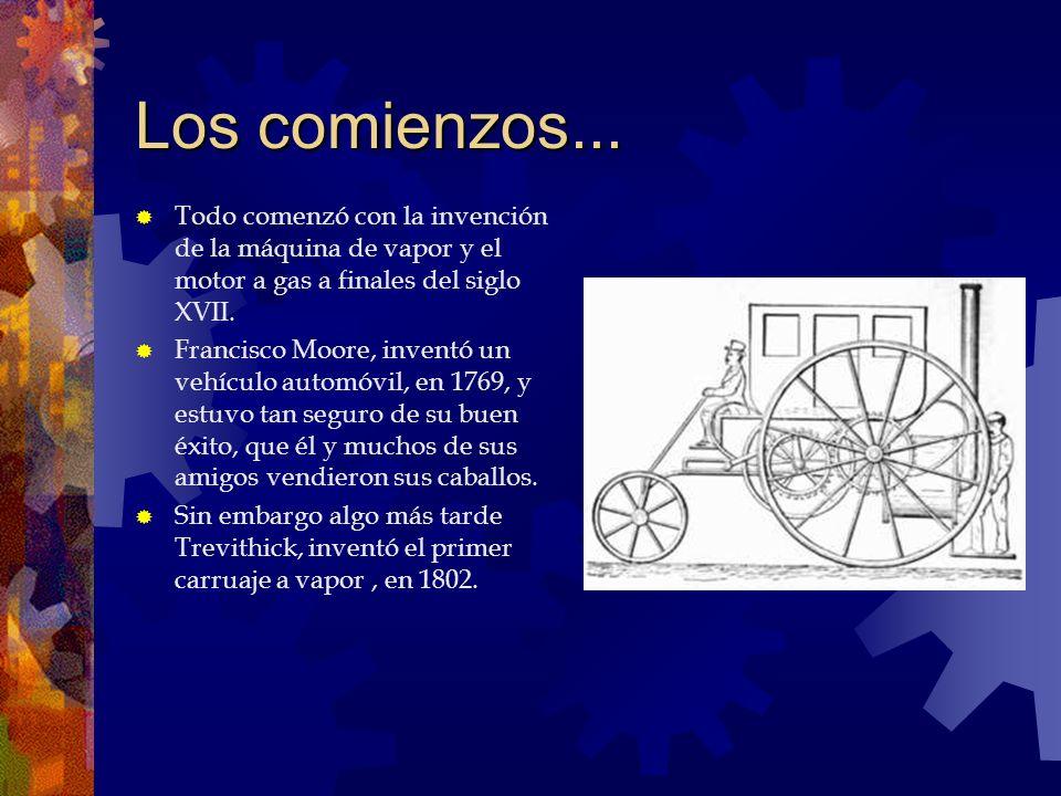 Los comienzos... Todo comenzó con la invención de la máquina de vapor y el motor a gas a finales del siglo XVII. Francisco Moore, inventó un vehículo