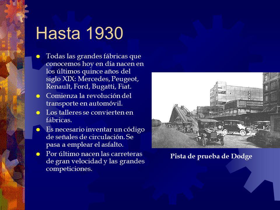 Hasta 1930 Todas las grandes fábricas que conocemos hoy en día nacen en los últimos quince años del siglo XIX: Mercedes, Peugeot, Renault, Ford, Bugat