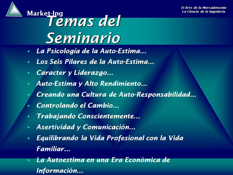 Market-Ing El Arte de la Mercadotecnia La Ciencia de la Ingeniería La Psicología de la Auto-Estima... Los Seis Pilares de la Auto-Estima... Caracter y