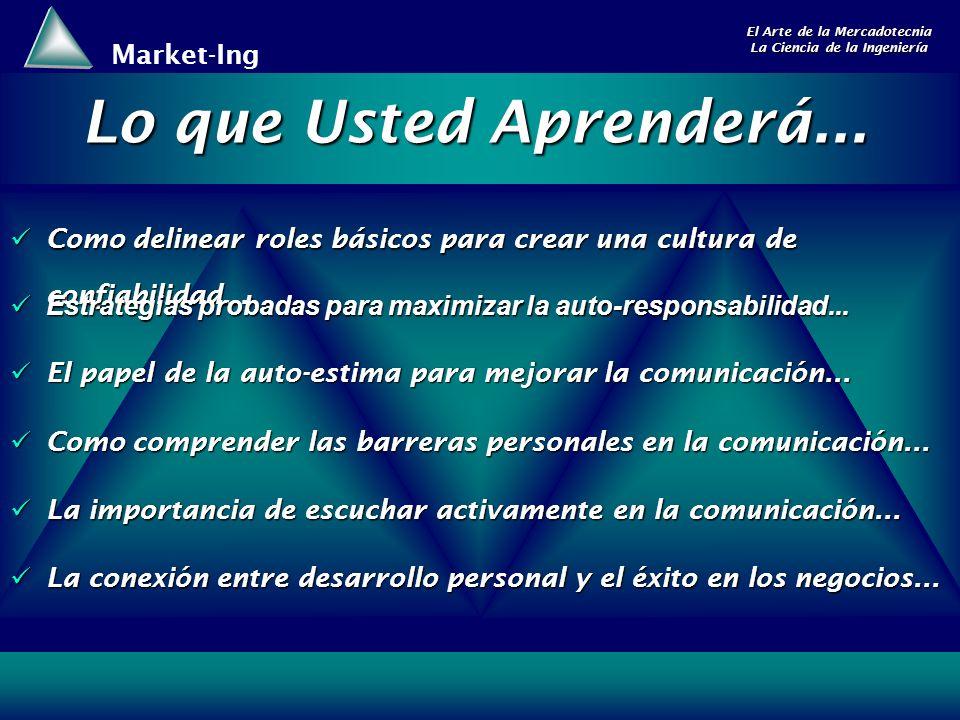 Market-Ing El Arte de la Mercadotecnia La Ciencia de la Ingeniería Como delinear roles básicos para crear una cultura de confiabilidad... Como delinea
