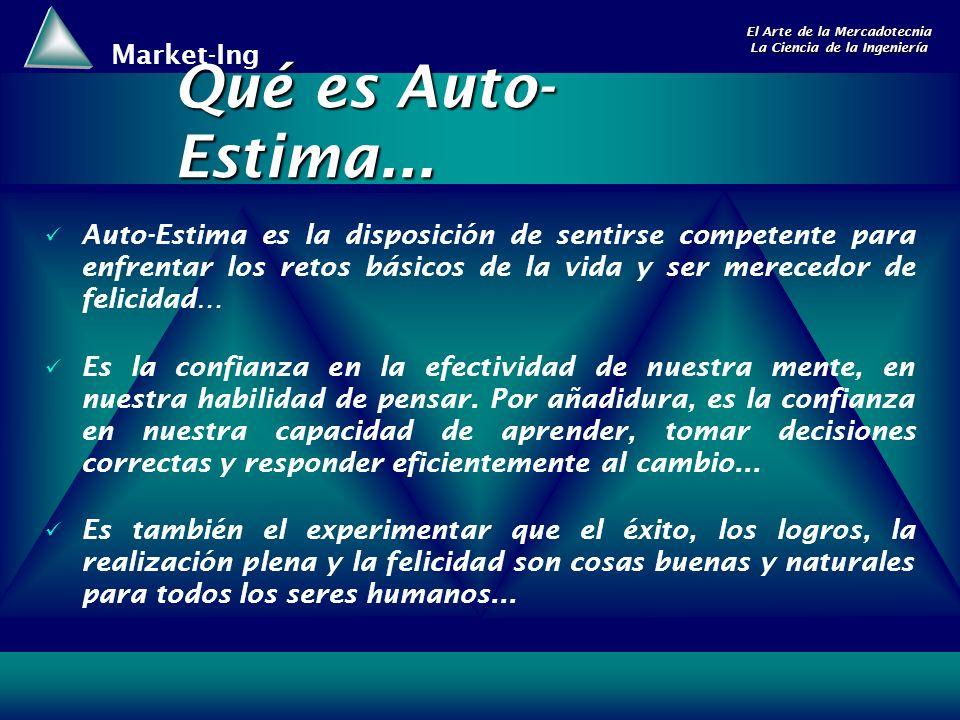Market-Ing El Arte de la Mercadotecnia La Ciencia de la Ingeniería Qué es Auto- Estima...