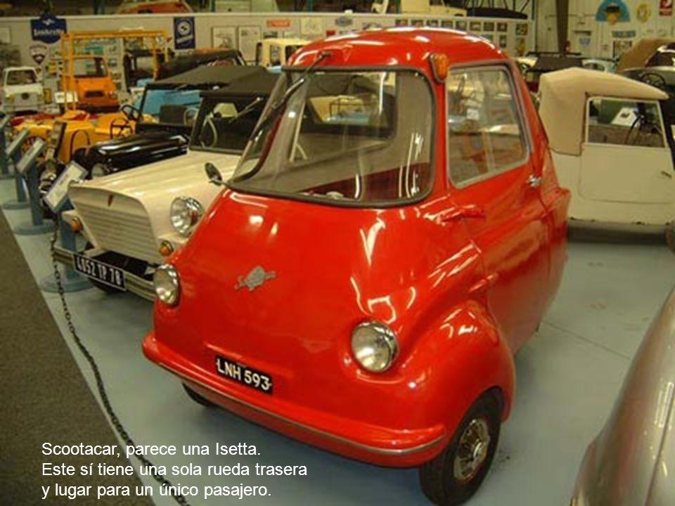Scootacar, parece una Isetta. Este sí tiene una sola rueda trasera y lugar para un único pasajero.
