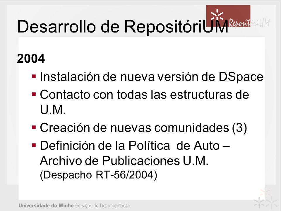 Desarrollo de RepositóriUM 2004 Instalación de nueva versión de DSpace Contacto con todas las estructuras de U.M.