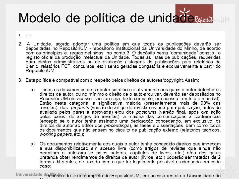 Modelo de política de unidade 1.(...) 2.