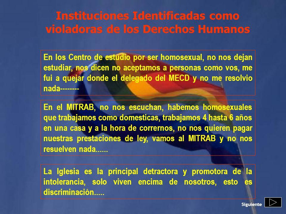 Instituciones Identificadas como violadoras de los Derechos Humanos En los Centro de estudio por ser homosexual, no nos dejan estudiar, nos dicen no a