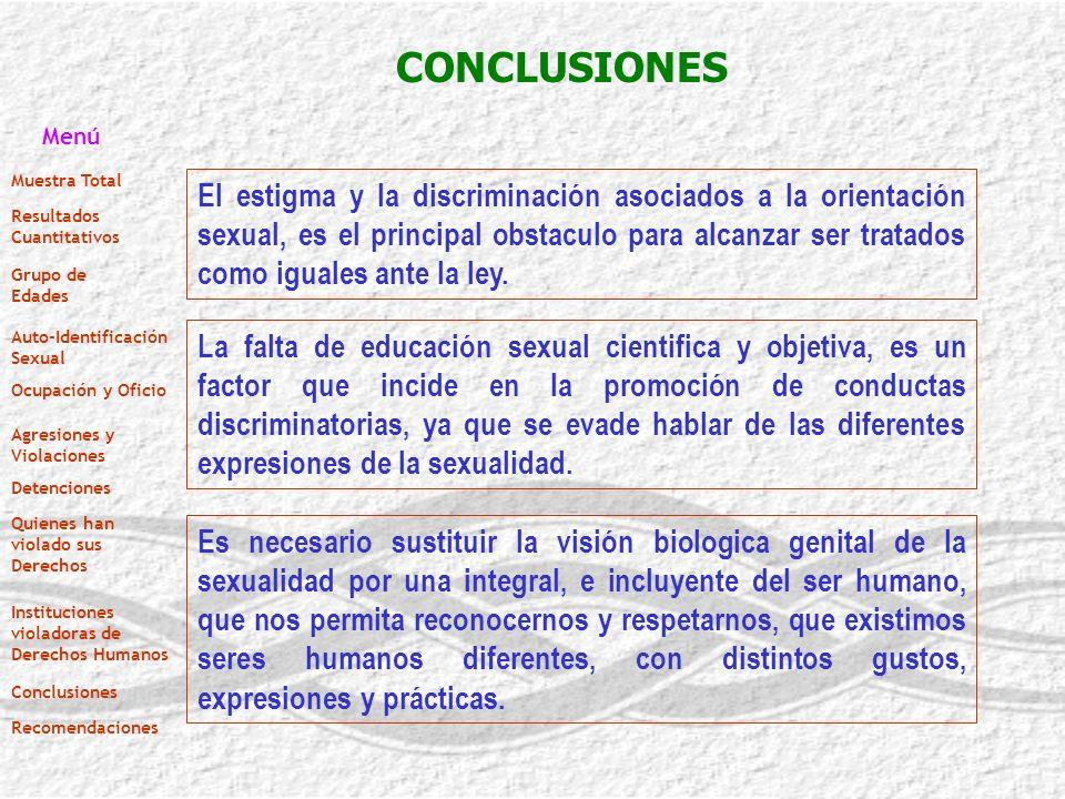 CONCLUSIONES El estigma y la discriminación asociados a la orientación sexual, es el principal obstaculo para alcanzar ser tratados como iguales ante