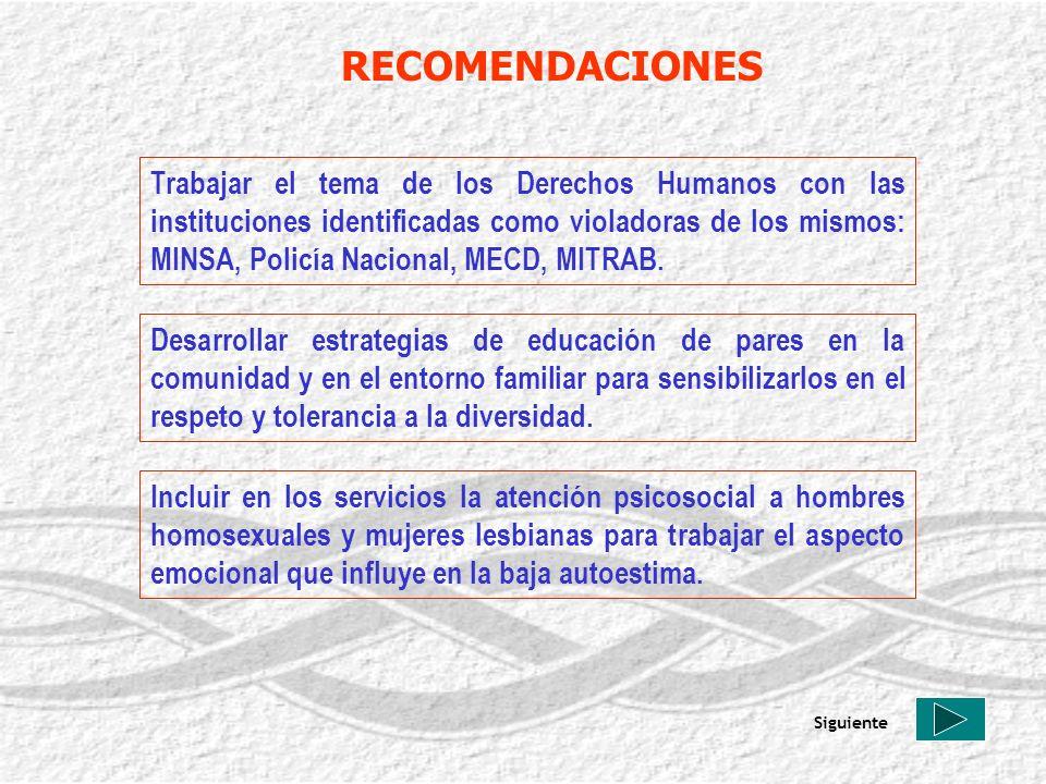 RECOMENDACIONES Trabajar el tema de los Derechos Humanos con las instituciones identificadas como violadoras de los mismos: MINSA, Policía Nacional, M