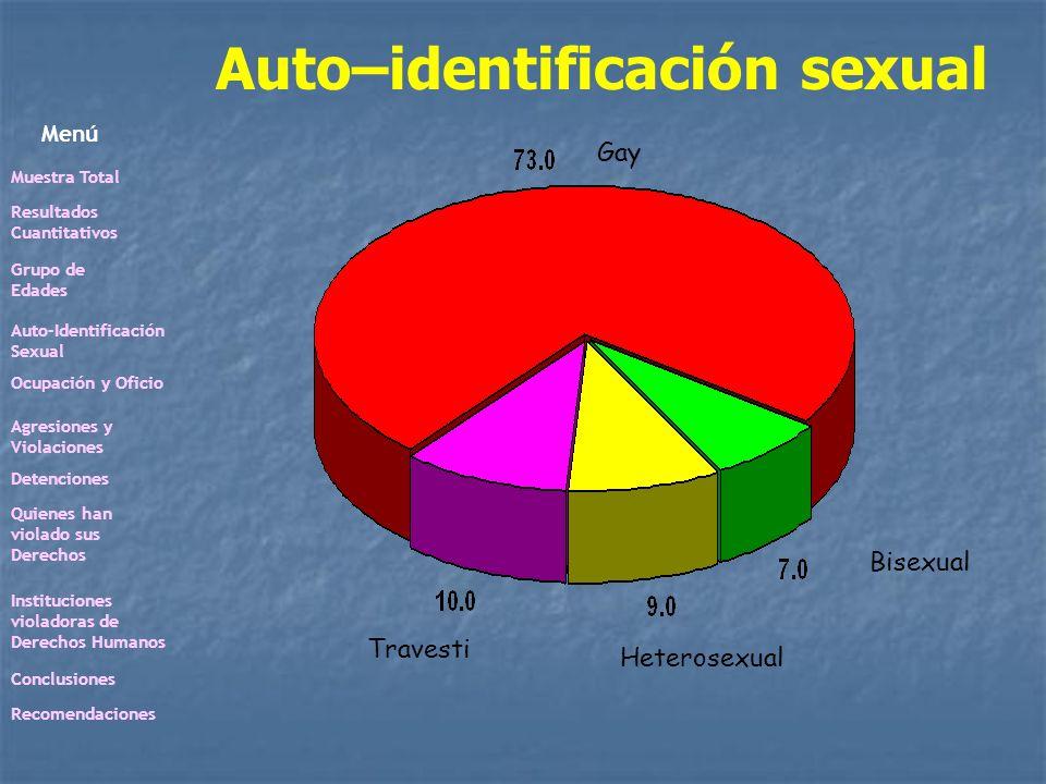 Auto–identificación sexual Gay Travesti Heterosexual Bisexual Menú Muestra Total Resultados Cuantitativos Grupo de Edades Auto-Identificación Sexual O