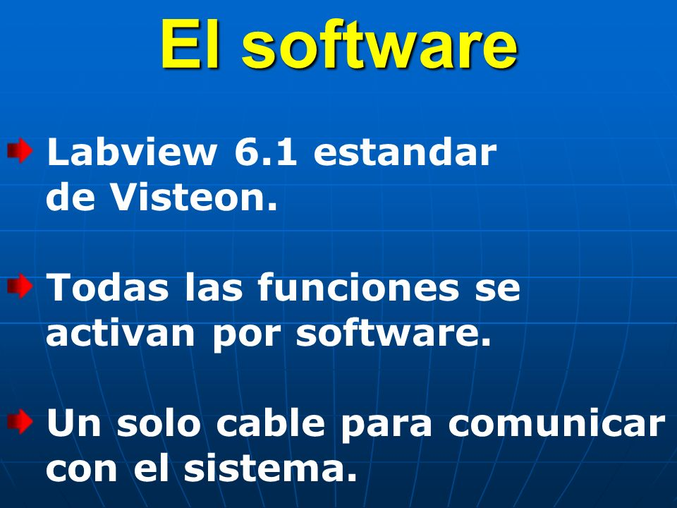 El software Labview 6.1 estandar de Visteon.Todas las funciones se activan por software.