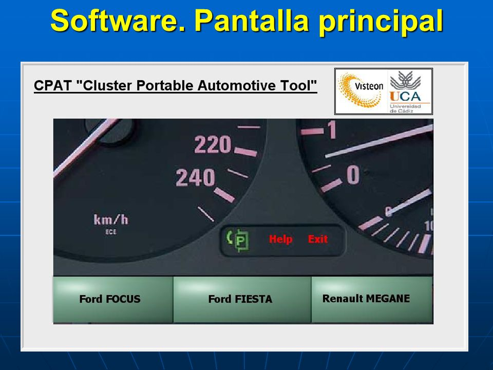 Software. Pantalla principal