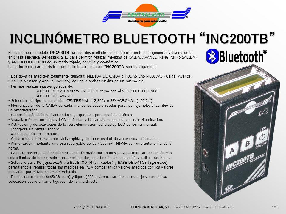 INCLINÓMETRO BLUETOOTH INC200TB El inclinómetro modelo INC200TB ha sido desarrollado por el departamento de ingeniería y diseño de la empresa Teknika