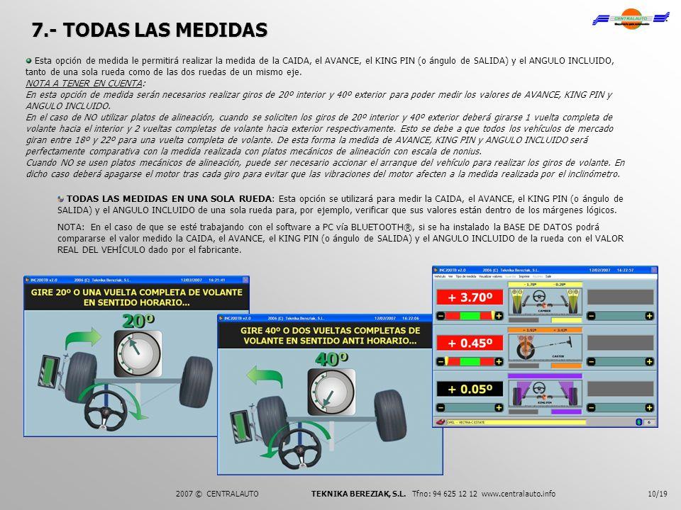 7.- TODAS LAS MEDIDAS 10/19 Esta opción de medida le permitirá realizar la medida de la CAIDA, el AVANCE, el KING PIN (o ángulo de SALIDA) y el ANGULO
