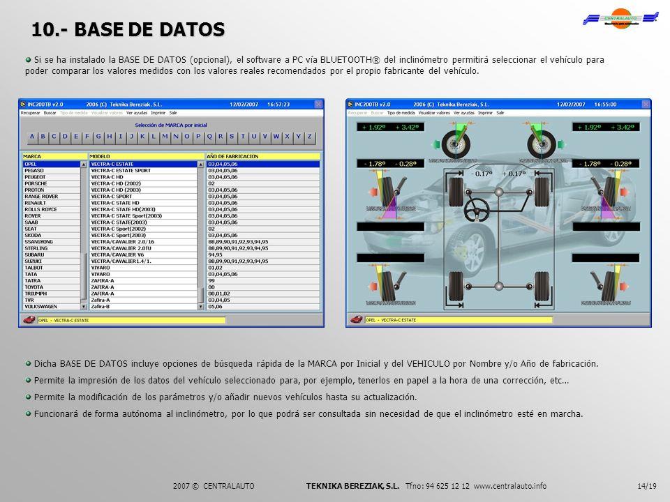 14/192007 © CENTRALAUTO TEKNIKA BEREZIAK, S.L. Tfno: 94 625 12 12 www.centralauto.info 10.- BASE DE DATOS Si se ha instalado la BASE DE DATOS (opciona