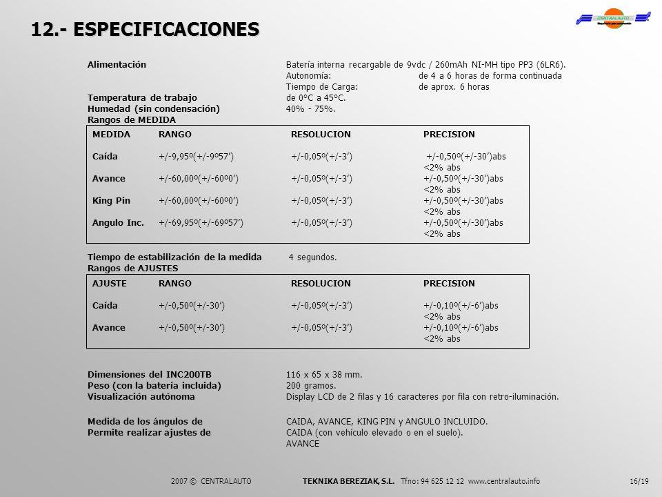 16/19 MEDIDARANGORESOLUCIONPRECISION Caída+/-9,95º(+/-9º57)+/-0,05º(+/-3) +/-0,50º(+/-30)abs <2% abs Avance+/-60,00º(+/-60º0)+/-0,05º(+/-3)+/-0,50º(+/
