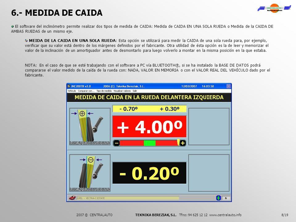 6.- MEDIDA DE CAIDA 8/192007 © CENTRALAUTO TEKNIKA BEREZIAK, S.L. Tfno: 94 625 12 12 www.centralauto.info El software del inclinómetro permite realiza