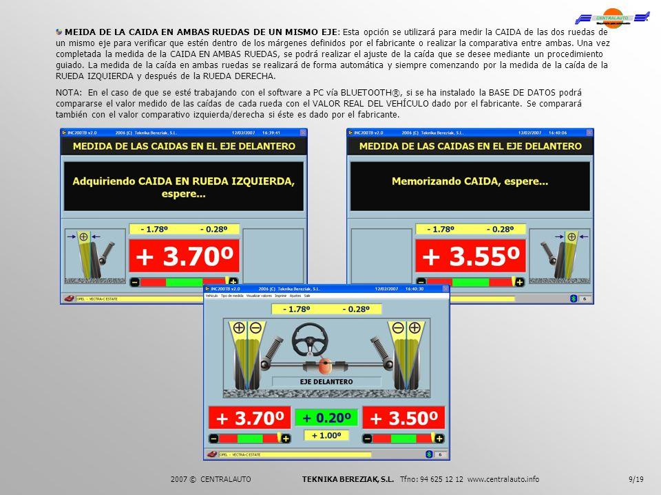 9/192007 © CENTRALAUTO TEKNIKA BEREZIAK, S.L. Tfno: 94 625 12 12 www.centralauto.info MEIDA DE LA CAIDA EN AMBAS RUEDAS DE UN MISMO EJE: Esta opción s